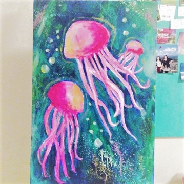jellyfish acrylic painting, barrie, ontario.